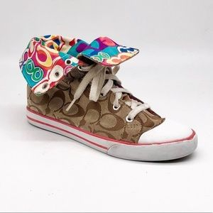 Coach Bonny Brown Logo High Top Sneakers